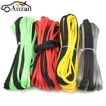 "3/16"" x 50′ Synthetic Fiber Winch Line Cable Rope 5500+ LBs + Sheath For ATV UTV 5.5mm*15m Synthetic"