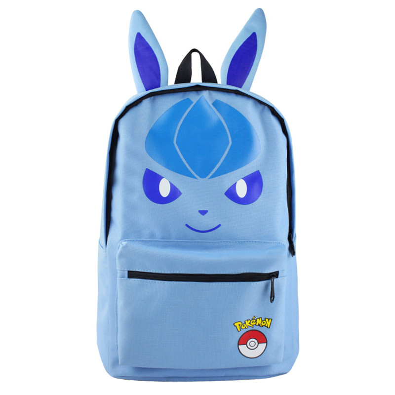New Pokemon Ears Glaceon Men And Women Common Backpack Student Bagpack School Bag  High-capacity Cartoon Travel Bag Mochila japan pokemon harajuku cartoon backpack pocket monsters pikachu 3d yellow cosplay schoolbags mochila school book bag with ears