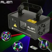 ALIEN מרחוק 3D RGB 400mW DMX 512 לייזר סורק מקרן שלב אפקט תאורת חג המולד DJ דיסקו הצג אורות מלא צבע אור