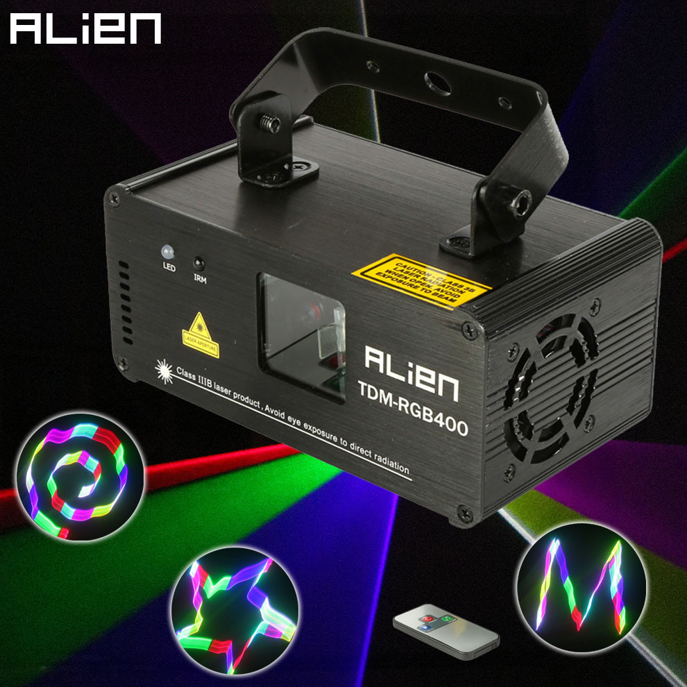 ALIEN Remote 3D RGB 400mW DMX 512 Laser Scanner Projector Stage Lighting Effect Party Xmas DJ Disco Show Lights Full Color Light alien 300mw rgb stage lighting effect dj disco party home wedding laser projector light xmas remote laser system show lights