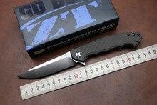 Folding tactical knife ZT Flipper 0452CF pocket Knife D2 Steel Blade KVT Ball Bearing outdoor camping survival Knife EDC Tool
