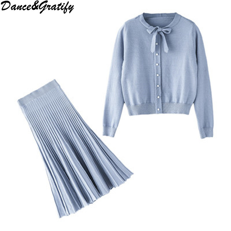 Fashion Sweet Girl 2 / Two Pieces Sets 2019 Elegant Slim Bow Collar Knitted Sweater Tops + Pleated Skirt Suit For Women Clothing