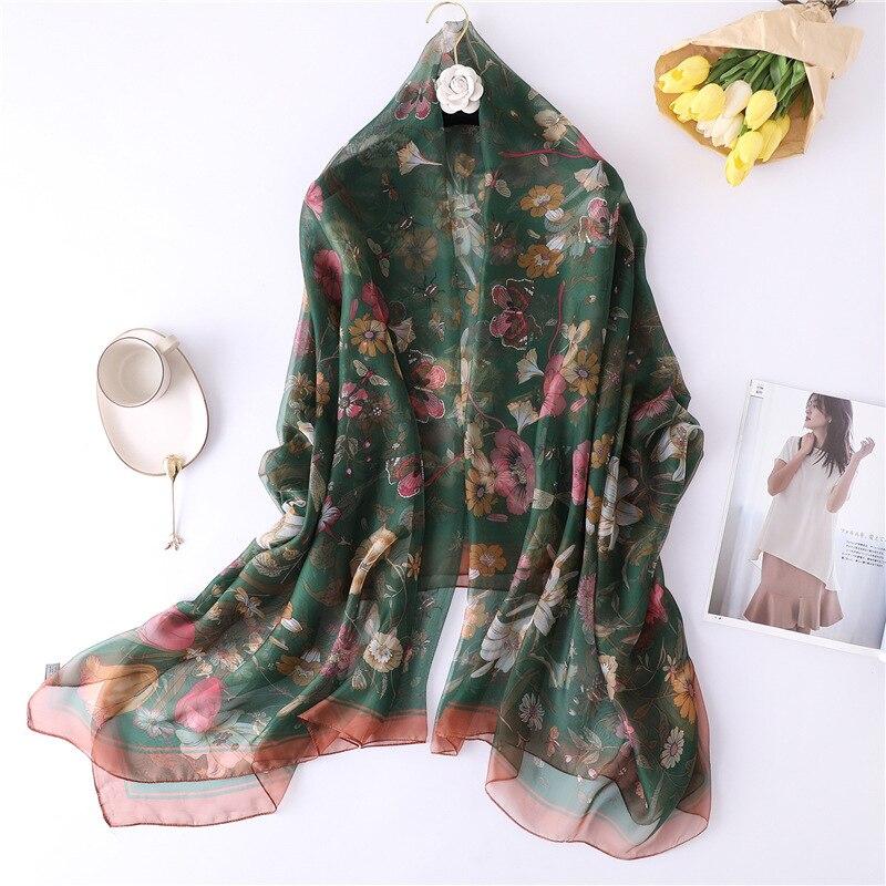 2019 New Floral Print Summer Silk Scarf Bohemia For Women Silk Hijab Women Shawls and Wraps SIlk Pareo Beach Scarf Sarong WrapWomens Scarves   -