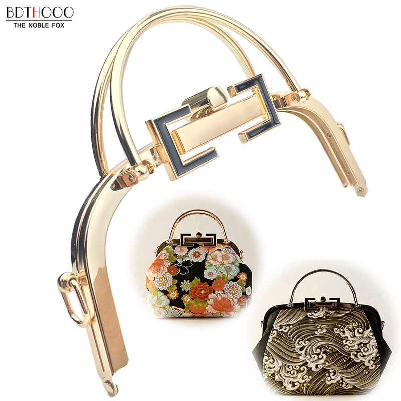 BDTHOOO 5pcs/lot 20.5cm New Women Handle Metal Frame Purse Glossy Vintage Golden Kiss Clasp Lock DIY Accessories For Bag