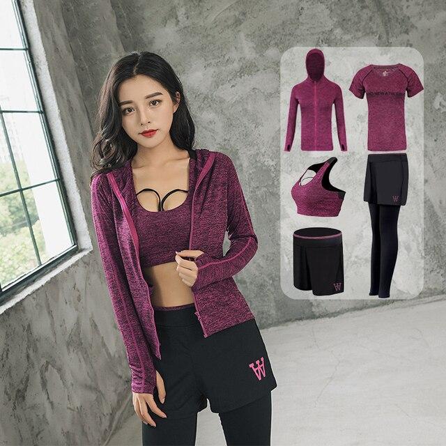 dd710a6df2c4 Conjuntos de Yoga para mujer 5 conjuntos cinco piezas correr ropa deportiva  gimnasio