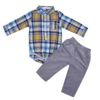 2pcs Spring Autumn Baby Boys Costume Clothes Set Blue Red Long Sleeve Plaid Romper Shirt Corduroy