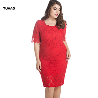 TUHAO Lace Dress Square Collar Casual Women Knee Length Dresses Hollow Out Sleeve Spring Summer Plus