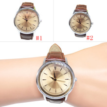 Brown Unisex Men's Women's Couple Watches PU Leather Simple Style Round Dial Quartz Wrist Watches Lover Gift LL