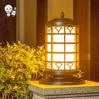 Outdoor Waterproof Black Iron Acrylic Round Shade Landscape Lighting Fixture Modern Column Pillar Pole Post Lamp E27 Bulb Garden