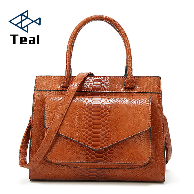 2019 Snake skin bag Woman Bag Luxury Brand Women 39 s leather Handbags With pouch Ladies Tote madam bolsos Women messenger bag in Top Handle Bags from Luggage amp Bags