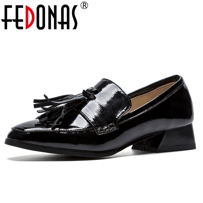 FEDONAS Basic Women Pumps Med Heels Tassels Wedding Party Shoes Woman Square Toe Night Club Casual Shoes New Ladies Pumps