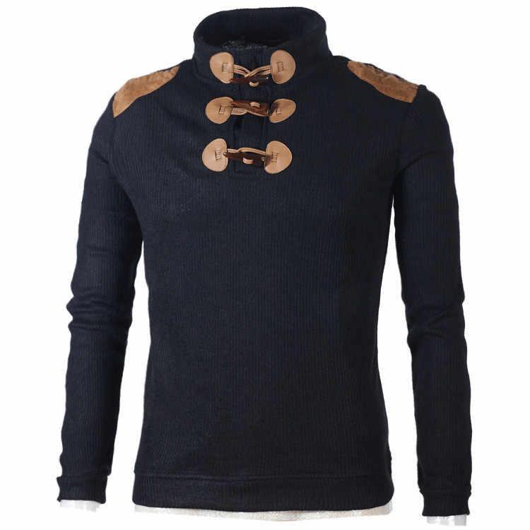 2018 мужской свитер пуловер рога Пряжка Вязаный Водолазка Свитера Рога Кнопка дизайн в обтяжку зимние пуловеры одежда мужчины