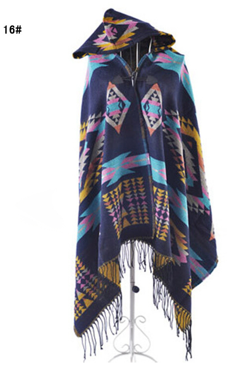 2019 Ladies Warm Winter Hooded Wrap Poncho Wool Scarves Capes New Ponchos And Capes Aztec Outwear Casacos Femininos