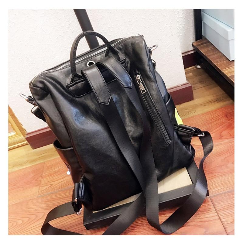 iPinee Women Leather Backpack Black Bolsas Mochila Feminina Large Designer Cartoon Girl Schoolbag Travel Bag
