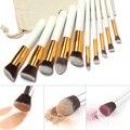 10 Pcs Pincéis de Maquiagem Profissional Definida Kit de Pincéis de Maquiagem Livre Corda Empate Bolsa de Maquiagem
