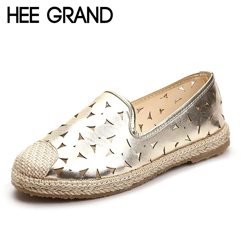 HEE GRAND 2017 Summer Loafers Casual Gold Silver Shoes Woman Comfort Slip On Flats Hollow Platform Women Fisherman Shoes XWD5624 lanshulan bling glitters slippers 2017 summer flip flops shoes woman creepers platform slip on flats casual wedges gold
