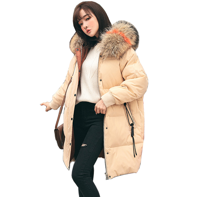 new Winter   Down   Jacket For Women 90% White Duck   Down     Coat   With Hood Vintage Windbreaker Parka Women long Jacket Feminino Outwear