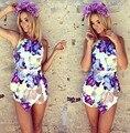 Roupas femininas 2017 Nova Macacões Cortadas Shorts Skinny Flores Impresso Irregular Romper Bodysuit Macacão Mulheres Verão 0983