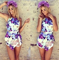roupas femininas 2017 New Jumpsuits Cropped Shorts Skinny Bodysuit Jumpsuit Women Summer Flowers Printed Irregular Romper 0983