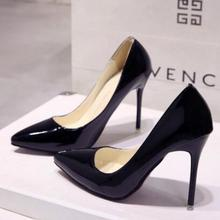 eb8ff4311c14 European station nude color stiletto heels pointed black work single shoes  female patent leather large size