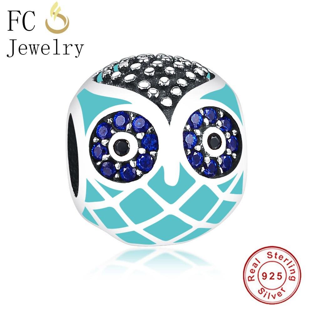 FC Jewelry Fit Original Pandora Charms Bracelets Essence 925 Silver Enamel Blue Color CZ Stone Owl Beads for DIY Making Berloque