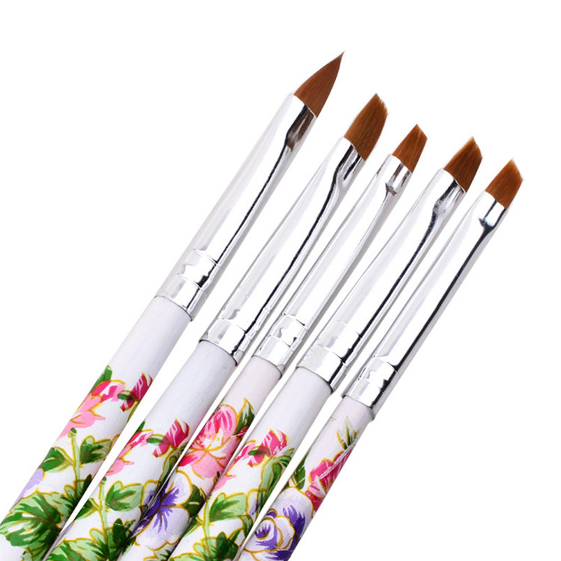 New Nail Brushes 5pcs Uv Gel Acrylic Nail Art Brush Painting Pen Set