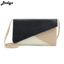 European and American Style Women Handbag Fashion Patchwork Lady Clutches Panelled PU Leather Solid Shoulder Bags Envelope