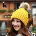 Compras libres 2017 de Otoño e invierno sombrero femenino de la manera esfera térmica sombrero tejido de punto tapa ocasional para las mujeres
