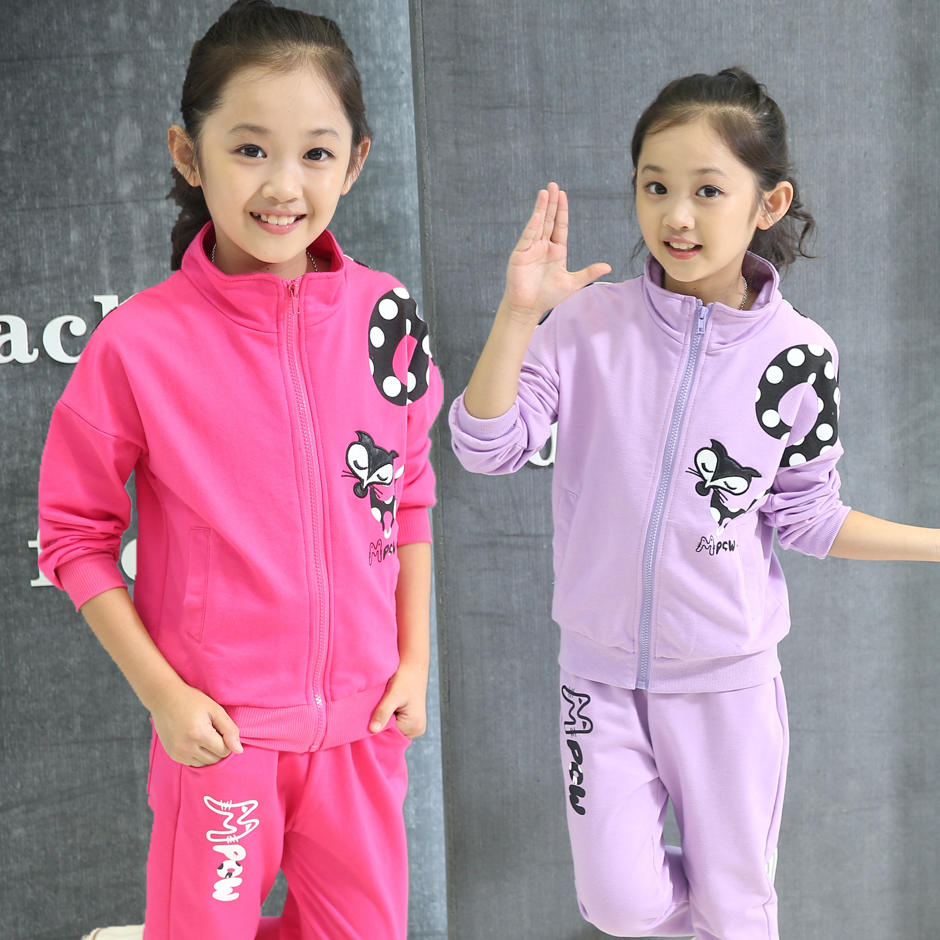 Children Autumn Kids Girls New  Long Sleeved Two Piece Sports Suit Fox Printed Clothes 4 Colour Cotton 2~13 Years Old