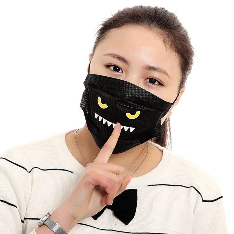 Damen-accessoires Masken 5 Stücke Unisex Staubdicht Einweg Mund Maske Nette Lustige Kawaii Emoji Gedruckt Vlies Mund-muffel Abdeckung NüTzlich FüR äTherisches Medulla