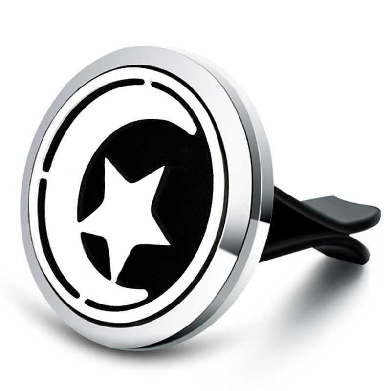 星ムーン車アロマディフューザーステンレス鋼車空気清浄車クリップ香水エッセンシャルオイルディフューザーロケットジュエリー