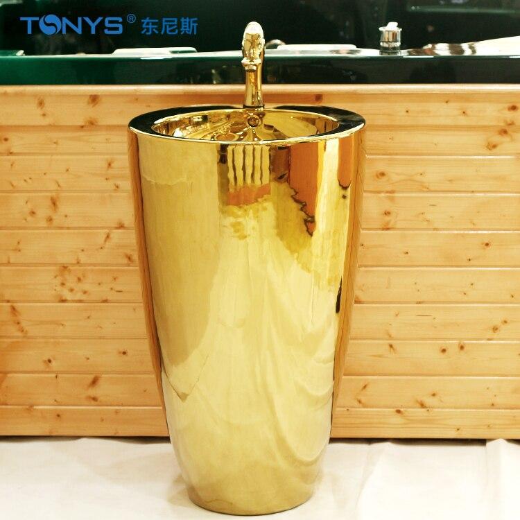 Nouvelle arrivée lavabo d'or cercle pilier lavabo Hôtel restaurants clubs avec personnalité Salle De Bains éviers égouttoir + robinet