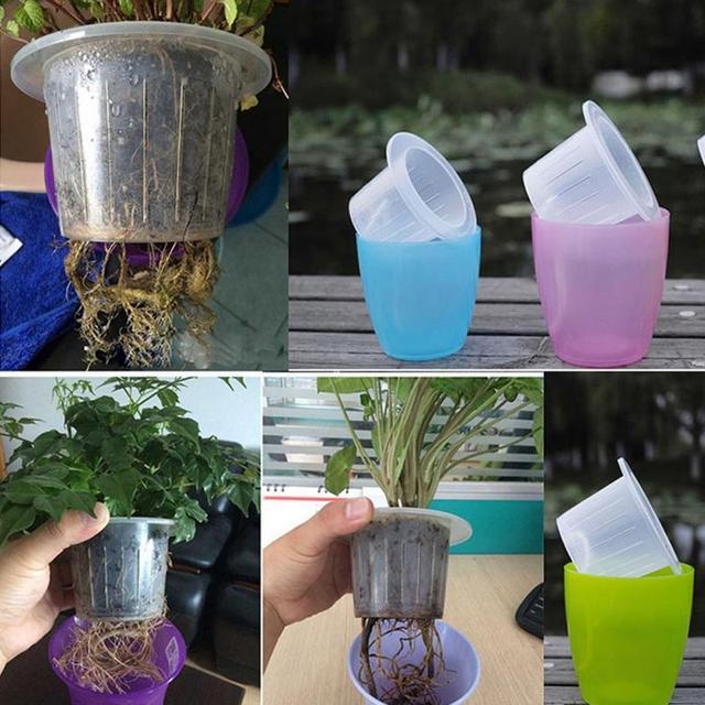 ABS Transparent Self Watering Planter Flower Pot Home Garden Decor