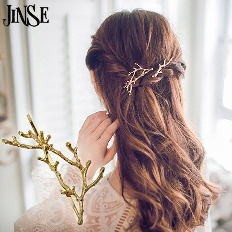 JINSE HCS097 fashion Gold Plating Branch Hair Clip Alloy Plant Barrettes Girls Lovely Hair Accessary Gift Free shipping 2PCS