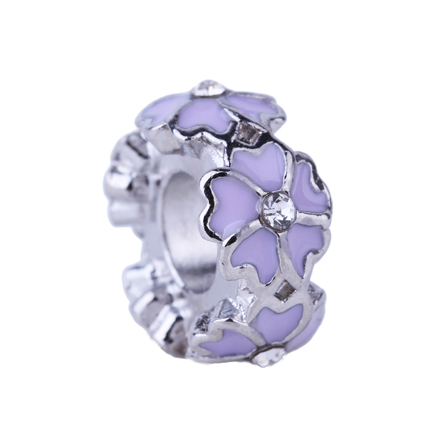 3a6e24f56 ... promo code 1piece five leaves love heart flower violet charms beads  european diy silver beads fit