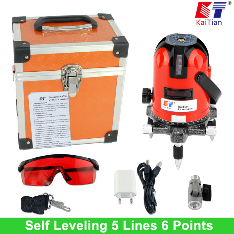 KaiTian Rotary Laser Level with Outdoor Tilt Function Euro Plug 635nM Lazer Level 5 Line 6 Point Self Leveling  Cross Line Level 1pc laser cast line machine multifunction laser line cross line laser rotary laser level 360 selfing leveling 5 line 4v1h3 point