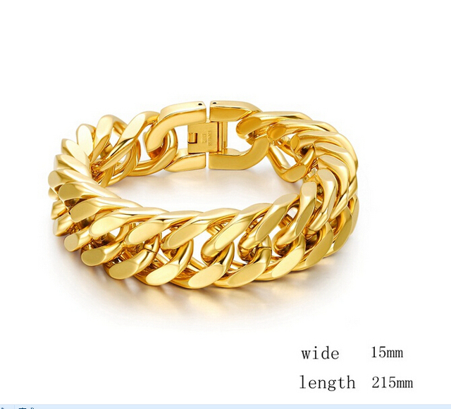 """2015 Sterling Jewelry 18 Trendy K """"seal Bracelet Men Jewelry Wholesale New Fashionable Real Plated 215 Mm 15 Cuban Link Chain"""