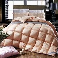 2018 Golden Solid 3D Warm Twin Queen King Size Duvet Stitching Comforters Cotton Duck Goose Down Filler Quilting Quilt Blanket