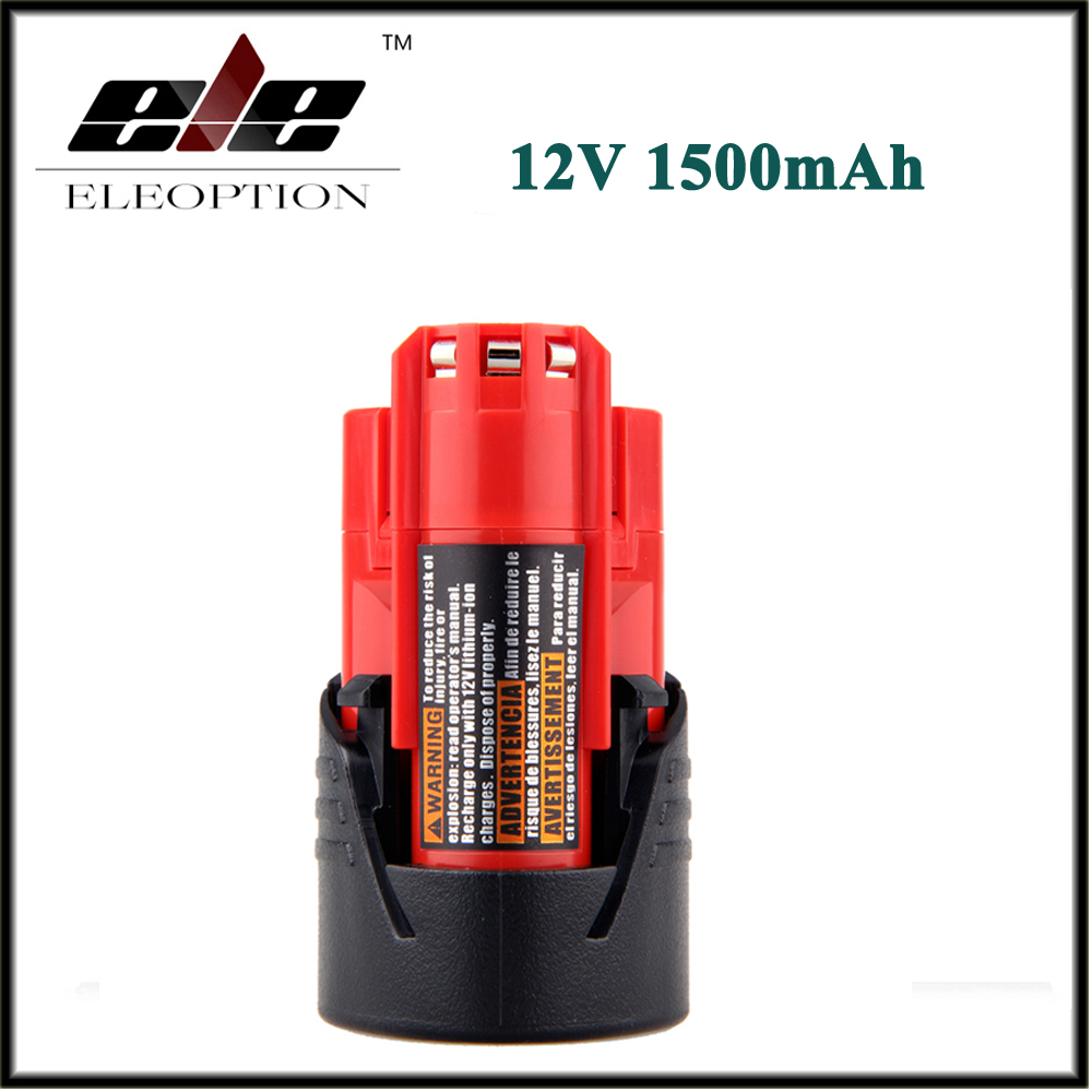 Eleoption Power Tool Battery For Milwaukee M12 12V 1500mAh 1.5Ah Li-ion Lithium Rechargeable Spare Battery 3pcs 12v lithium ion 1500mah power tool rechargeable battery with charger replacement for milwaukee m12 48 11 2401 48 11 2402