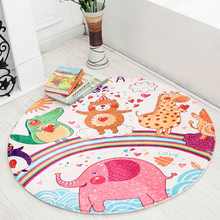 Cartoon Animal Round Area Rug for Kids Room Children Bedroom Fresh Style Non-Slip Living Room Carpet Computer Chair Floor Mat(China)