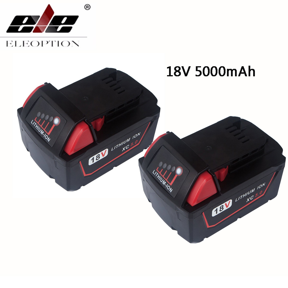 ELEOPTION 2 pcs 18 v Li-Ion de 5000 mah Bateria de Substituição para Milwaukee XC 48-11-1815 M18B2 M18B4 m18BX M18BX