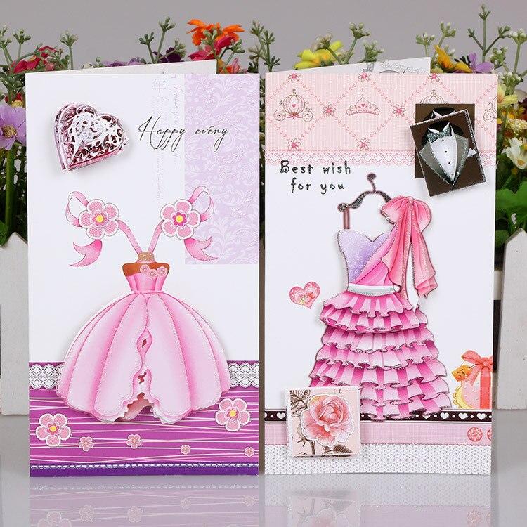 24 Pc Lot De Mariage Robe Tissu Message Carte Visite 3D Voeux Du Jour Valentine Cartes En Papier Souhaits Dans