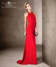 Charming Sleeveless Halter-ausschnitt Gerade Lange Abendkleider Abendkleider 2016 Backless Chiffon Sexy Red Prom Kleider