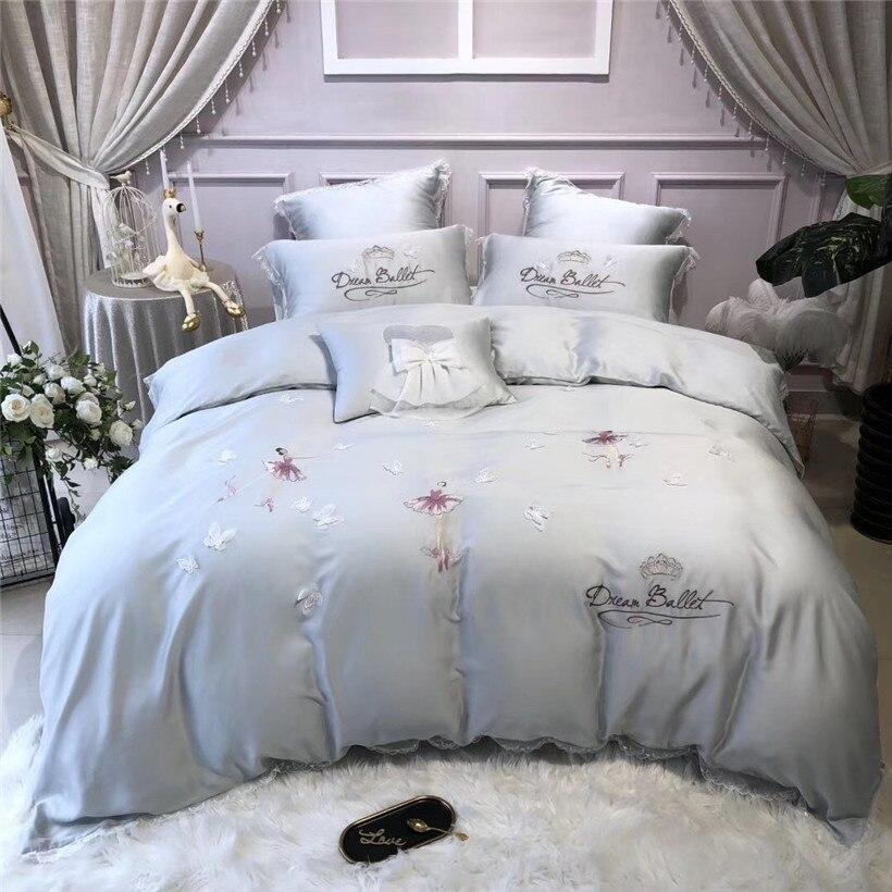 Queen King size 4 7Pcs Tencel Silk Ultra Soft Silky Blue Grey Bedding Set Delicate Butterfly
