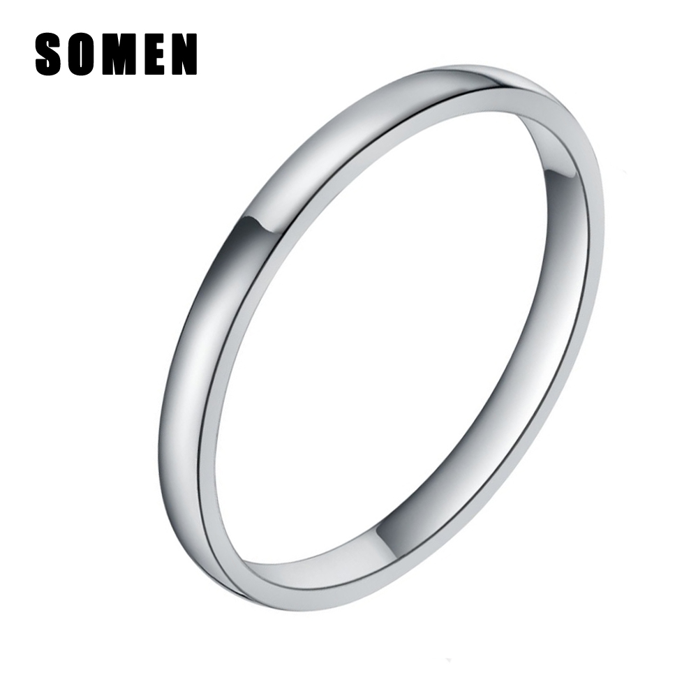 wedding rings and bands simple smooth 2mm thin silver titanium ring women 1012
