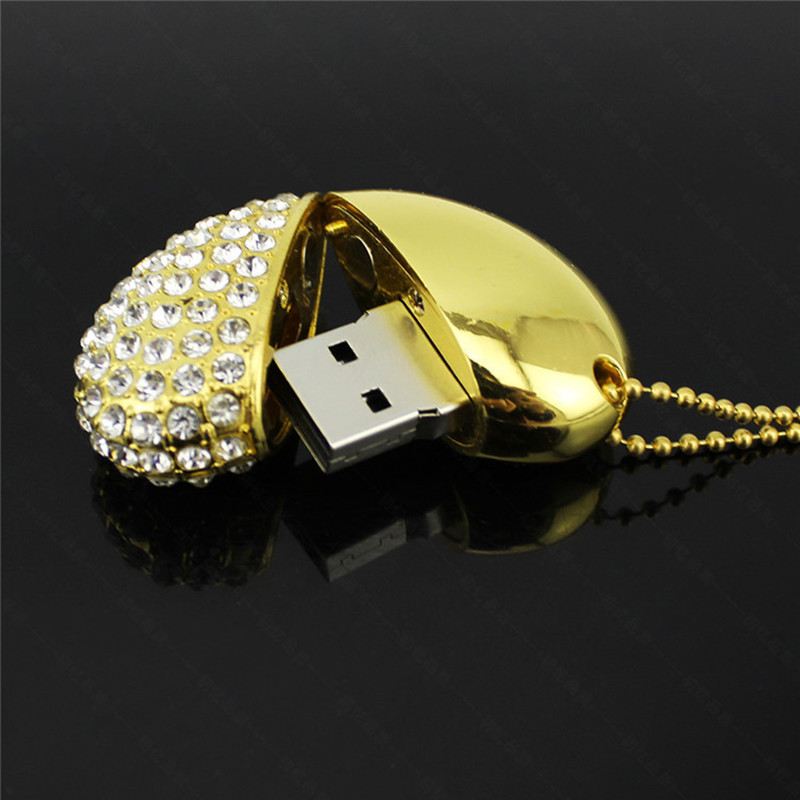10pcs/lot metal crystal love Heart USB Flash Drive precious stone pen drive special gift pendrive 8GB 16GB diamante memory stick