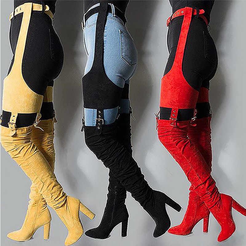 MStacchi Rihanna troupeau bottes hautes hiver sur le genou mode bottes à talons sangle solide bout pointu talon carré Zip bottes en caoutchouc