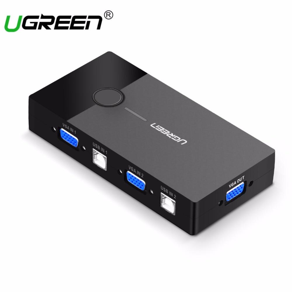 Ugreen KVM USB Commutateur VGA Splitter 2 Port USB Partage Switcher Sélecteur pour Imprimante Clavier Souris Moniteur VGA à USB commutateur KVM
