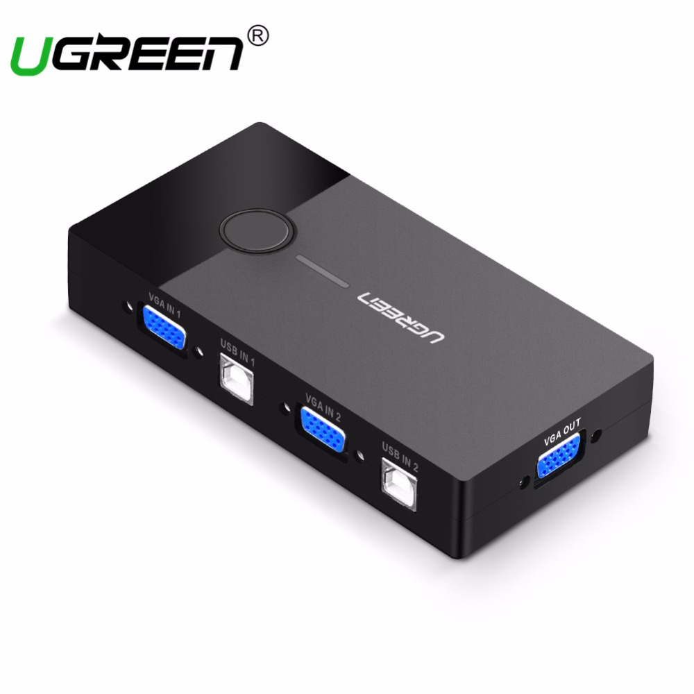 Ugreen KVM USB Switch VGA Splitter 2 Port USB Sharing Switcher Selector for Printer Keyboard Mouse Monitor VGA to USB KVM Switch