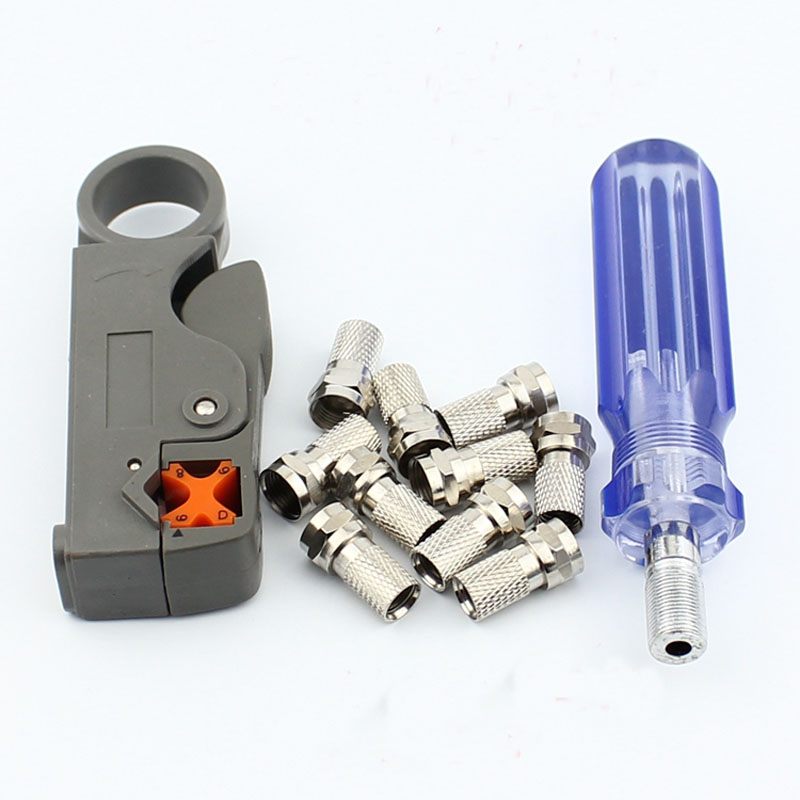 Set! Cable TV F Head Do Line Tool, Extrusion F Joints 75-5 Stripping Knife And 10 Metric F Head Connector Plug Boosters the 5 7 9 extrusion clamp rg6 rg11 pressing line clamp cable f head special tools